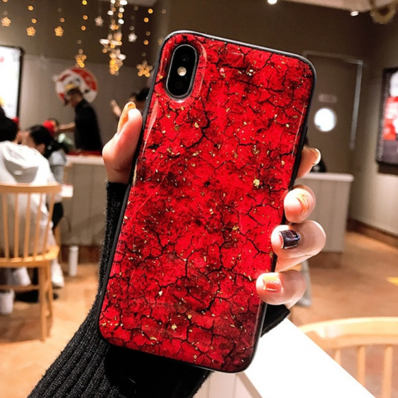 newest dbbca 64ce9 Red Marble iPhone Case 7 8 Plus X XS XR Max Gold Boutique